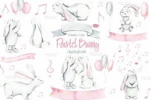 Baby bunny watercolor clipart, cards
