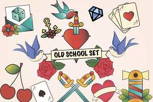 Old school tattoos Set