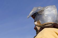 medieval knight with helmet