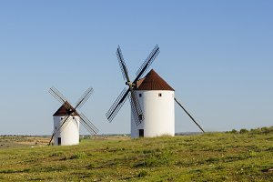 Two windmills in Mota del Cuervo