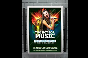 Too Hot For Music Party Flyer