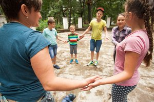 Children playing the game in summer camp