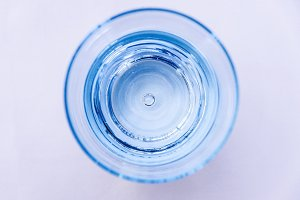 Glass of water top view