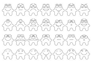 Set of 42 vector smiles