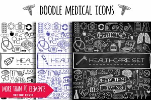 Doodle medical icons & banners