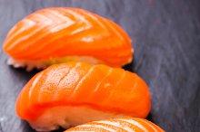 Sake sushi with salmon