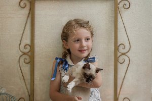 vintage blonde girl with cat