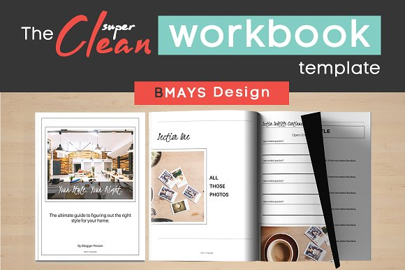 the clean workbook template templates creative market