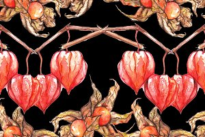 Watercolor physalis seamless pattern