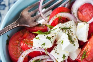 Tomato, onion and feta salad