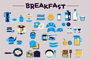 :::Breakfast vector foods:::