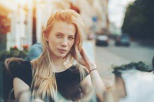 Portrait of beautiful blonde lady