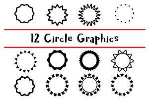 12 Black Circle Graphics