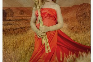 young blonde girl in a wheat field