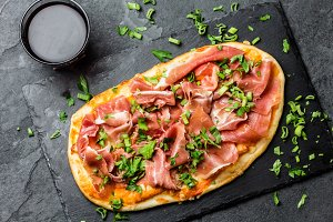 Pizza with jamon serrano
