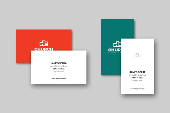 church business card template 2 business cards - Church Business Cards