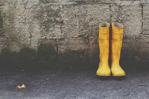 Yellow boots.