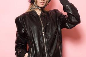 Biker girl motorcycle helmet
