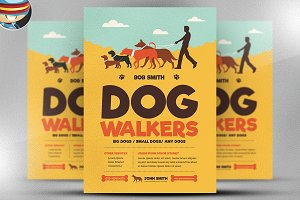 Dog walkers flyer template flyer templates creative market dog walkers flyer template pronofoot35fo Choice Image