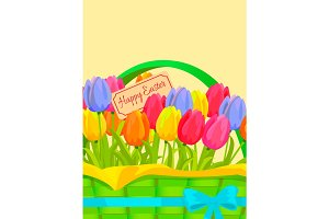 Happy Easter Festive Vector Concept with Tulips