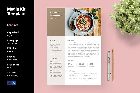 Media Kit Template for Blogger ~ Social Media Templates ~ Creative ...