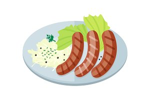 Bavarian Sausages with Pasta and Lettuce on Plate