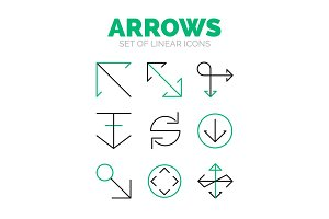 Set of arrow icons, flat minimal linear thin style
