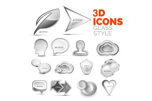Set of vector 3d grey icons, universal elements