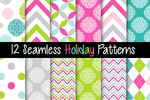 12 Seamless Holiday Patterns - Pink