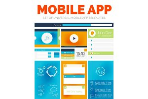 Vector set of mobile app layout templates