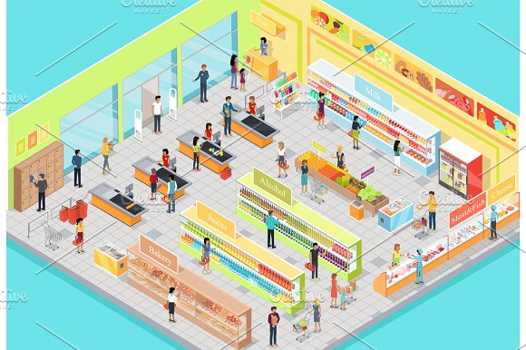 Supermarket Interior In Isometric Projection 3D