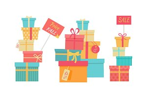 Big Pile of Wrapped Gift Boxes Vector Sale Concept