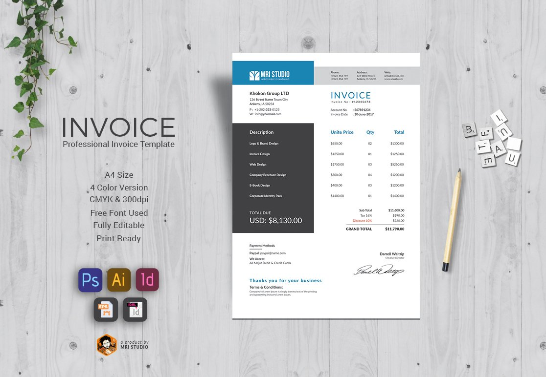 invoice template excel photos graphics fonts themes templates corporate invoice template
