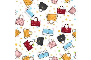 Collection of Women Handbags on Endless Texture.