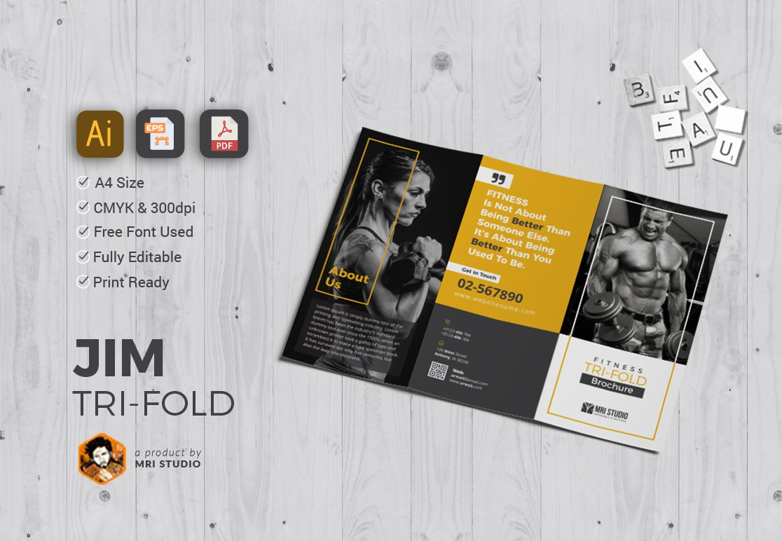 Gym tri fold brochure templates brochure templates for Gym brochure template