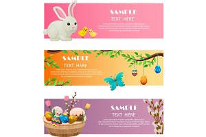 Spring and Easter Festive Vector Web Banners Set