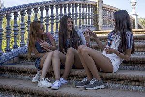 Three Beautiful Young Women Friends
