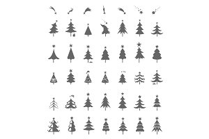 Christmas tree icons.