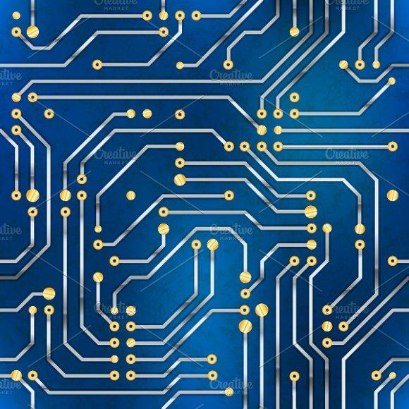 Computer Microchip Seamless Pattern