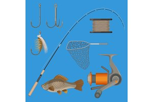 Vector of two hooks, bobbin, landing net, spinning reel, fish-rod