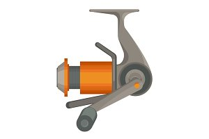 Orange spinning reel for fishing in flat design isolated on white