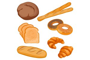 Vector of brown tommy, sliced bread, long loaf, baguettes, buns