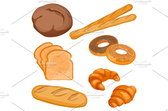 Vector Of Brown Tommy Sliced Bread Long Loaf Baguettes Buns