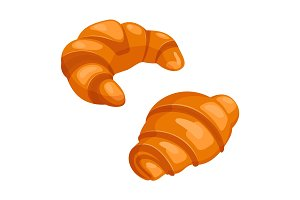 Two croissants bake puff pastry color flat design on white