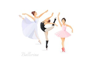 Three young ballet dancers standing in pose flat design