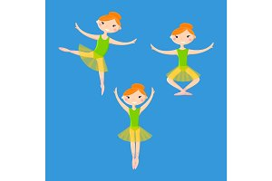 Little smiling ballerinas in dance pattern art cartoon style