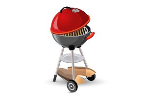 Portable round barbecue with cap bbq grill icon on white