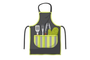 Black apron with various accessories in pocket for grill isolated