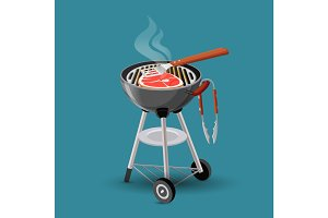 Meat fried on barbecue grill icon in cartoon style isolated