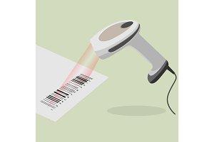 White handheld barcode scanner scanning bar code in flat design